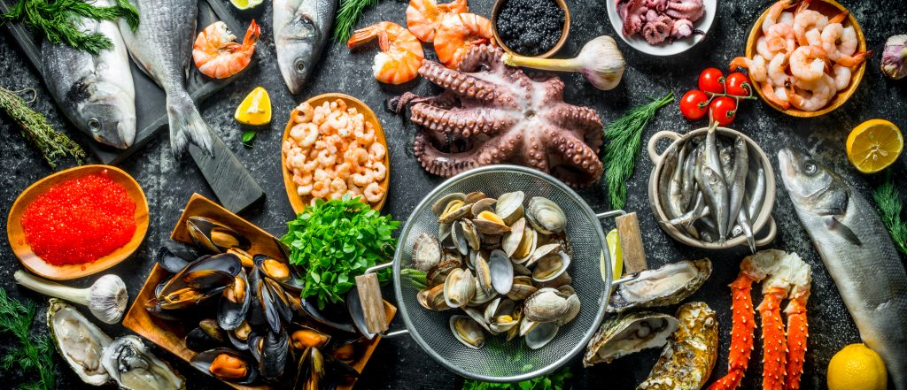 Frische Lebensmittel gekühlt Meeresfrüchte